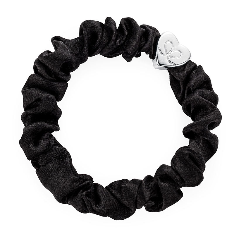 Black Scrunchie Bangle Band With Silver Heart