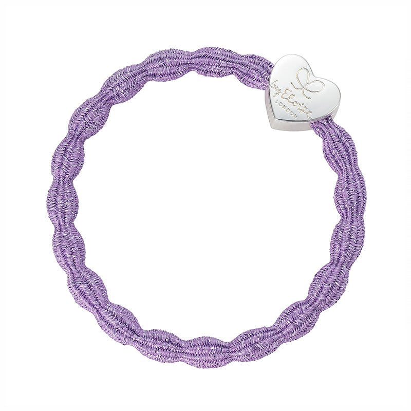 Metallic Lilac/Silver Heart Bangle Band