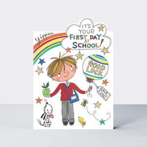 Cherry On Top Its Your First Day At School Boy Card