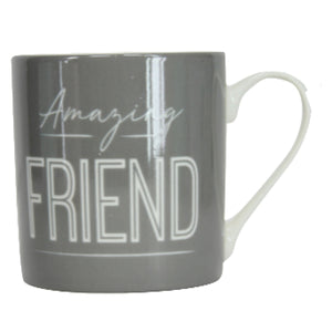 Dark Grey 'Friend' Ceramic Mug