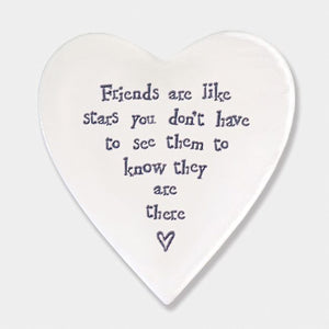 East of India Friends Are Like Stars Heart Coaster | More Than Just at Gift | Narborough Hall