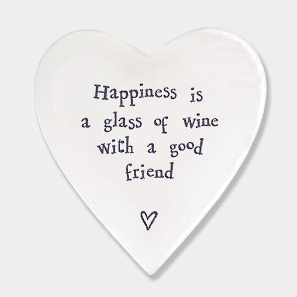 East of India Happiness is Wine with Friend Heart Coaster