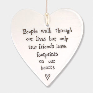 East of India True Friends Leave Footprints Hanging Heart | More Than Just at Gift | Narborough Hall