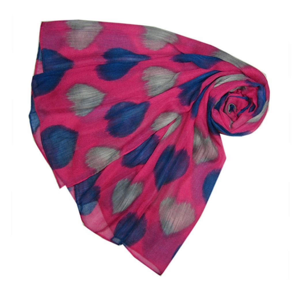 Fuchsia Faded Hearts Scarf | More Than Just at Gift | Narborough Hall