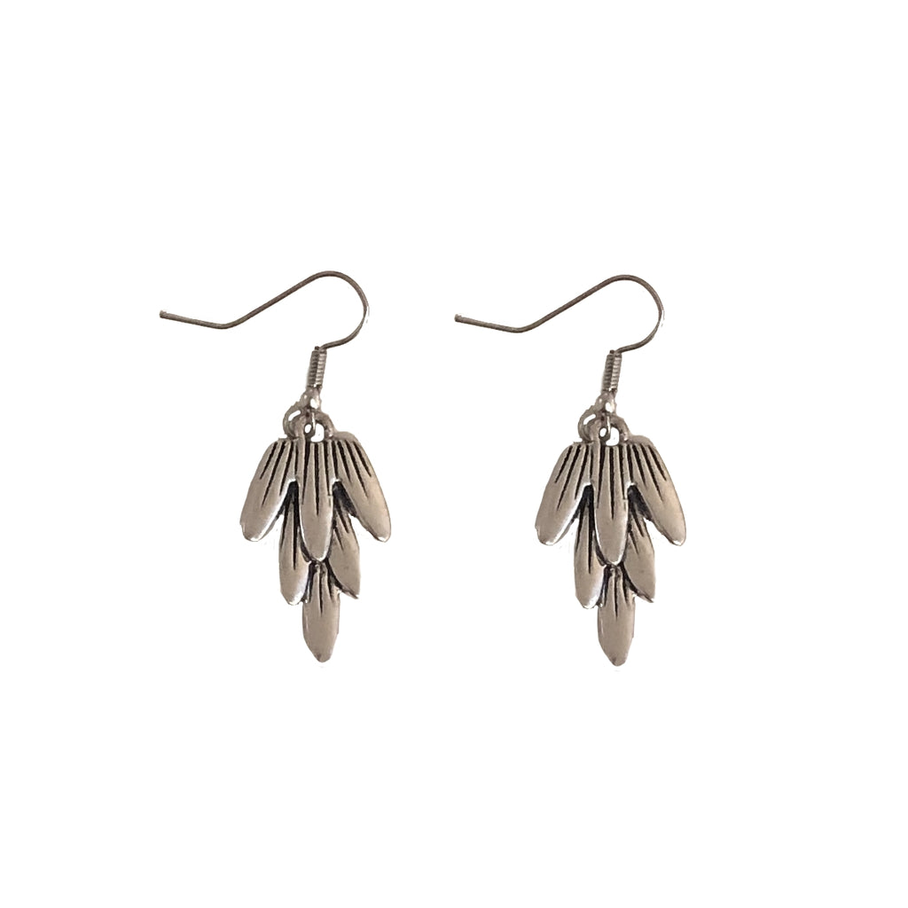 Antiqued Silver Feather Earrings