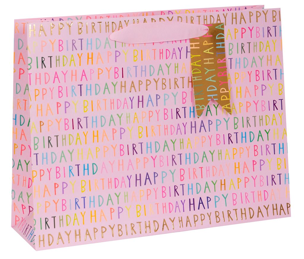 Paper Salad Happy Birthday Pink Large Gift Bag