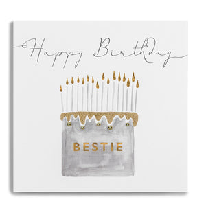 Janie Wilson Gold Leaf Happy Birthday Bestie Card