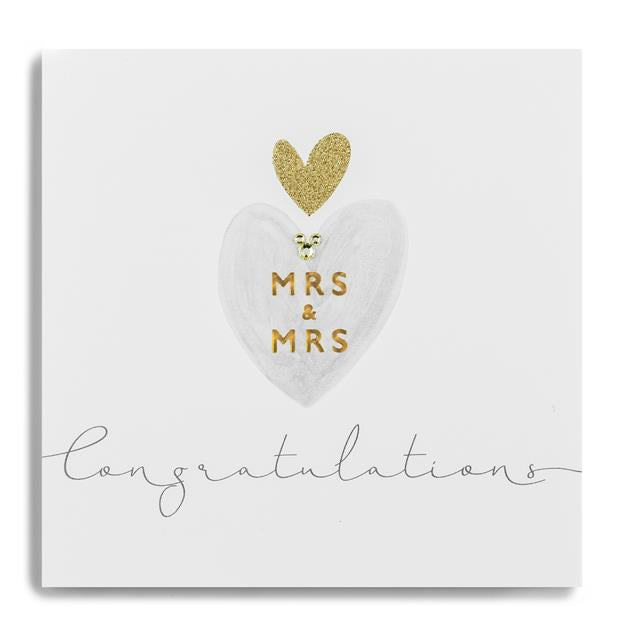 Janie Wilson Gold Leaf Mrs & Mrs Congratulations Card