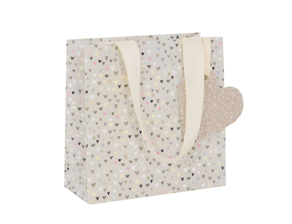 Tiny Hearts Multi/Gold Gift Bag - Small