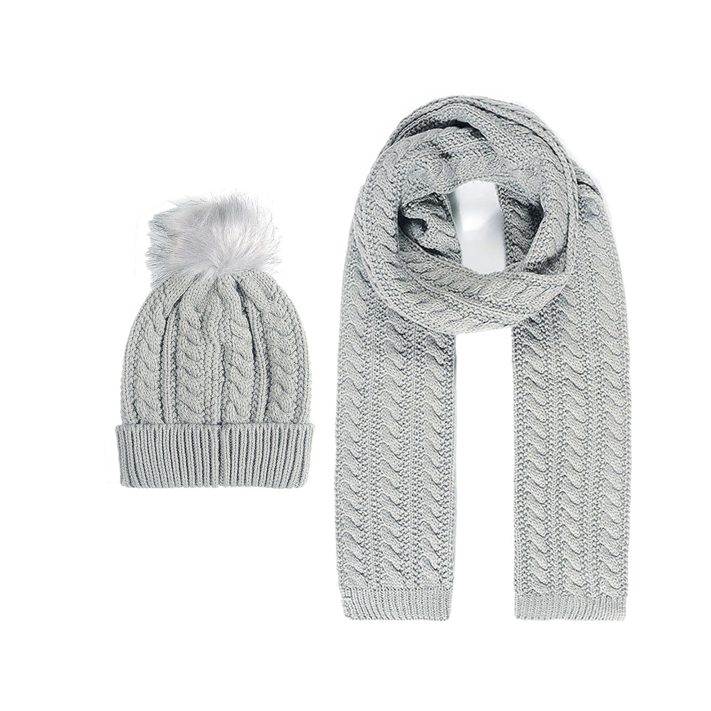Grey Cable Knit Hat and Scarf Ste