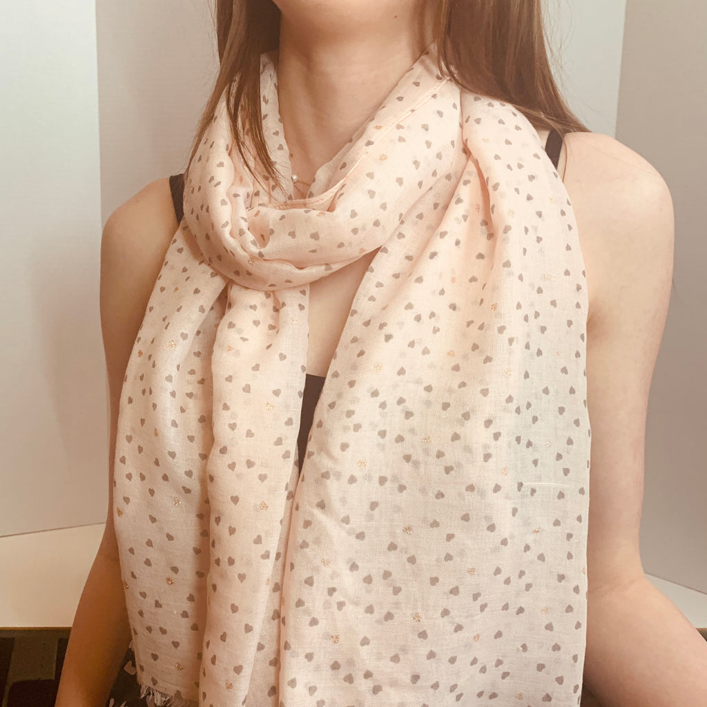 Ava Pink Scattered Heart Print Scarf