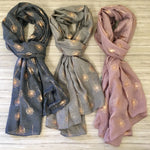 Grey Rose Gold Dandelion Scarf