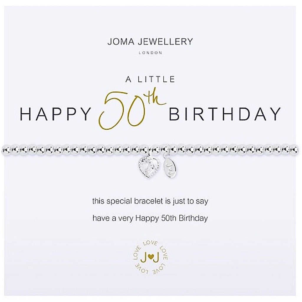 Joma a little Happy 50th Birthday Bracelet - heart