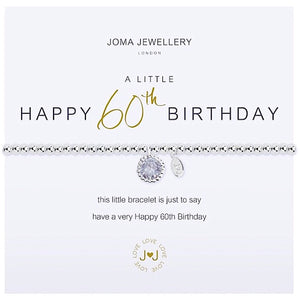 Joma a little Happy 60th Birthday Bracelet - crystal