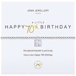 Joma a little Happy 70th Birthday Bracelet - crystal