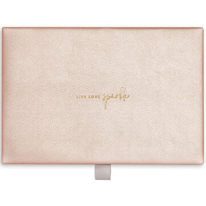Katie Loxton Live Love Sparkle Pebble Jewellery Box - gold