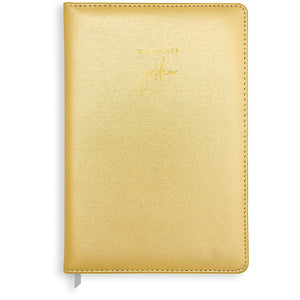 Katie Loxton Words Are Golden Vegan Leather Notebook - gold