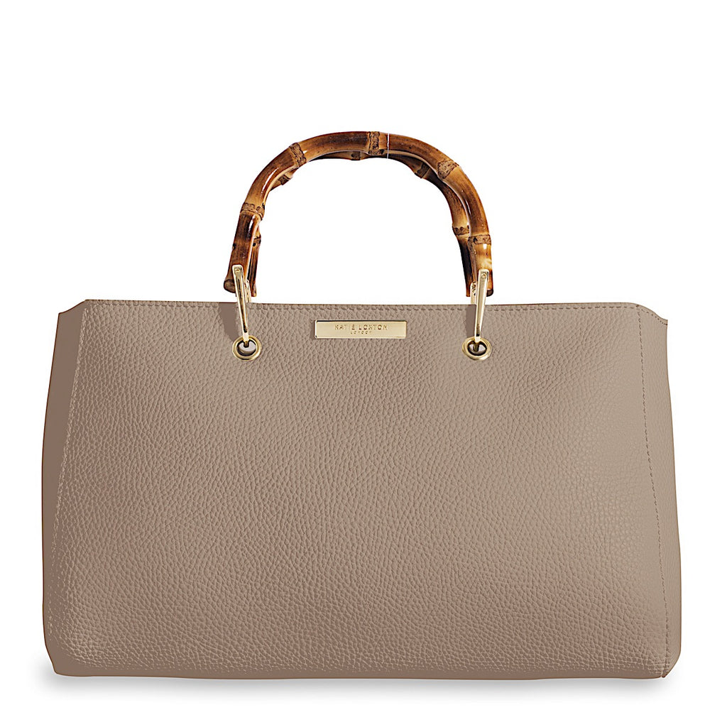 Katie Loxton Taupe Avery Bamboo Handbag | More Than Just at Gift | Narborough Hall