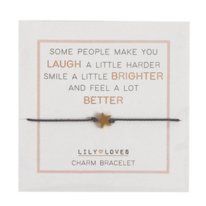 Lily Loves Charm Bracelet - Laugh/Brighter/Better