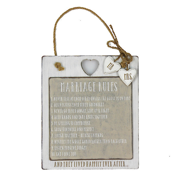 Love Story 'Marriage Rules' Plaque