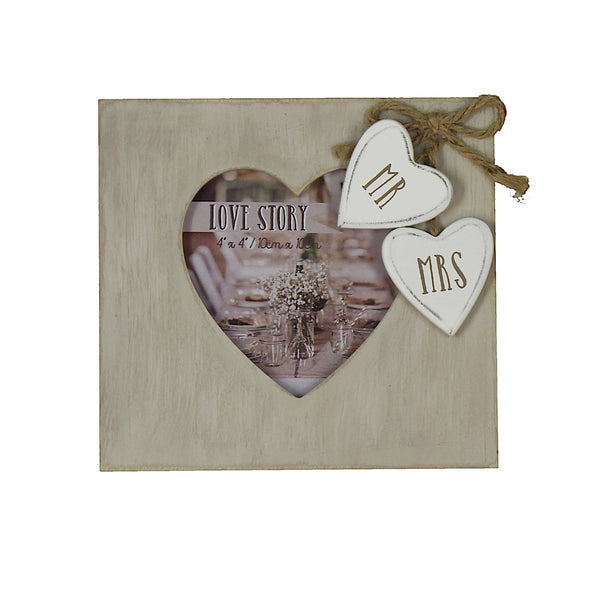 Love Story 'Mr and Mrs' Heart Photo Frame