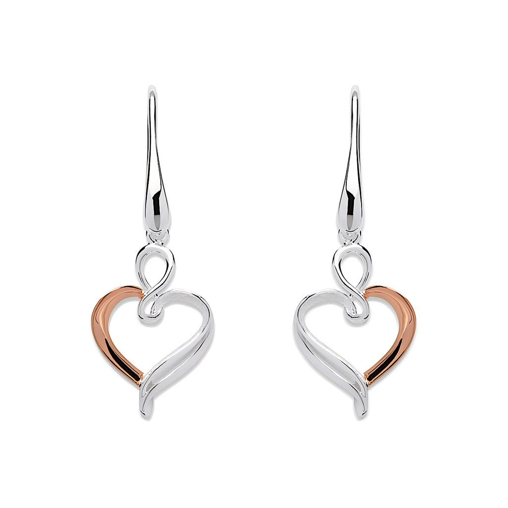Unique Sterling Silver / RG Open Swirl Heart Drop Earrings