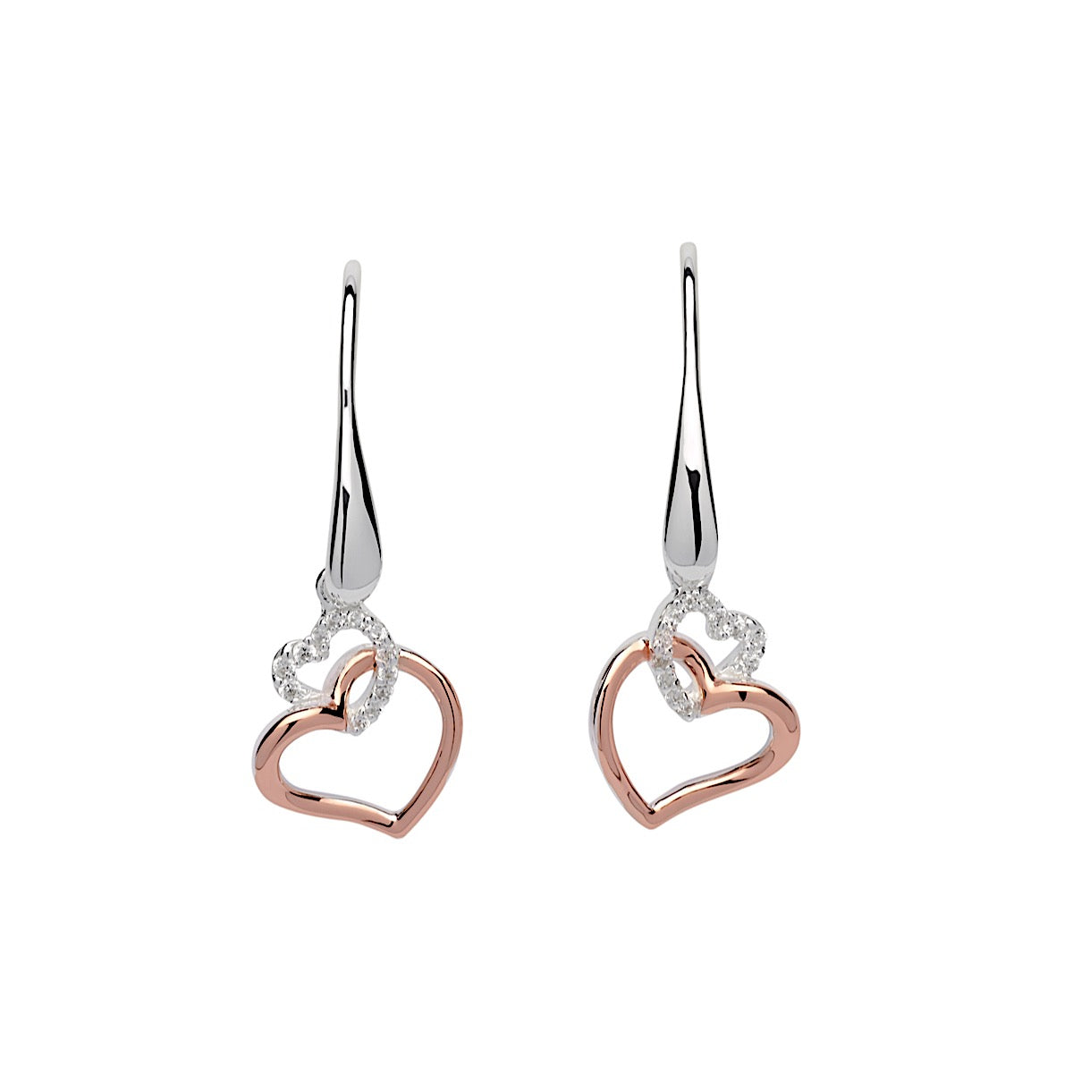 Unique Silver and Rose Gold CZ Linked Heart Earrings