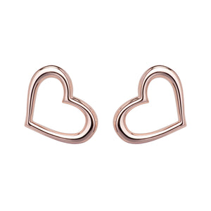 Unique Sterling Silver / RG Open Heart Simple Earrings