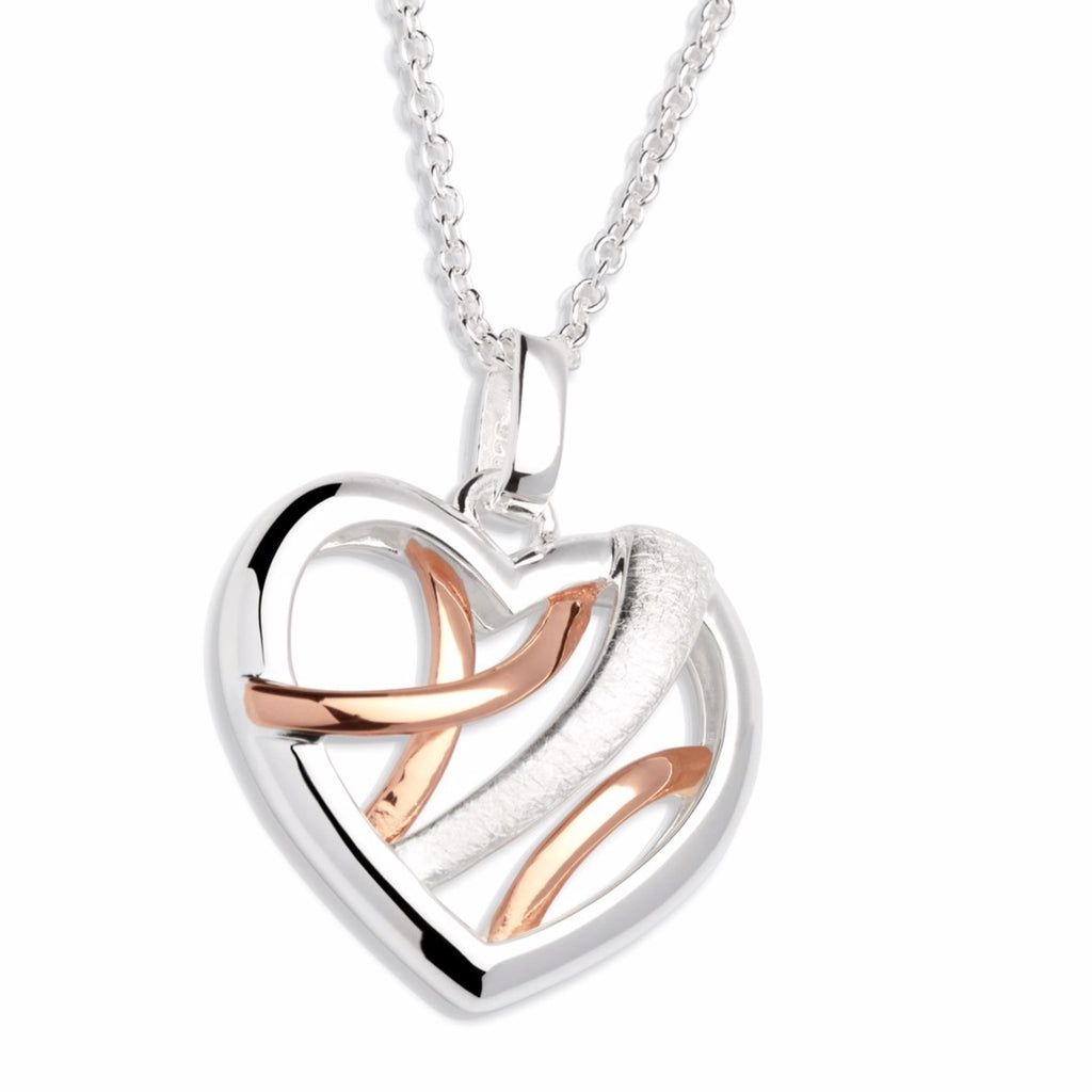 Unique & Co Sterling Silver Heart Pendant With Rose Gold Elements