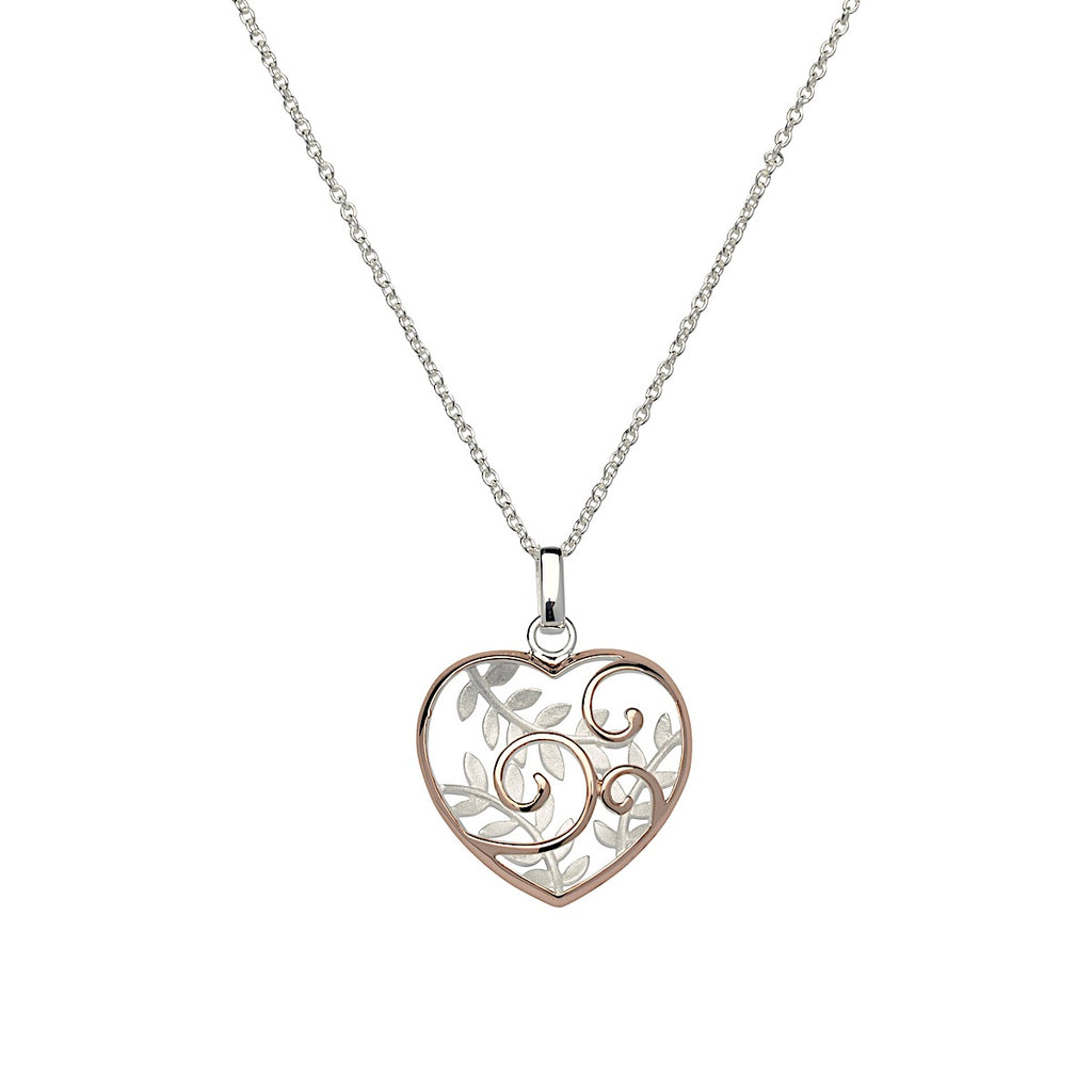 Unique Rose Silver Leaves and Swirl Heart Necklace