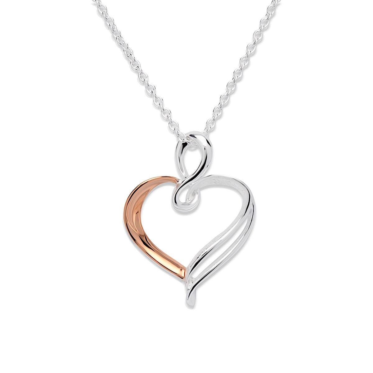 Unique Sterling Silver / RG Open Swirl Heart Necklace