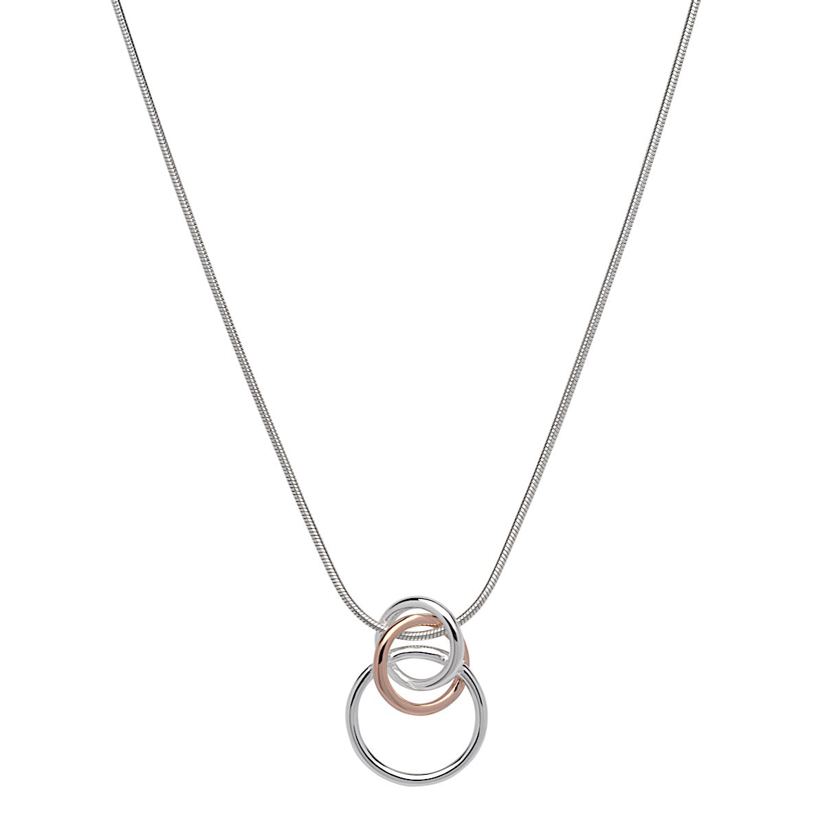 Unique Silver Linked Circles Rose Gold Plated Pendant Necklace