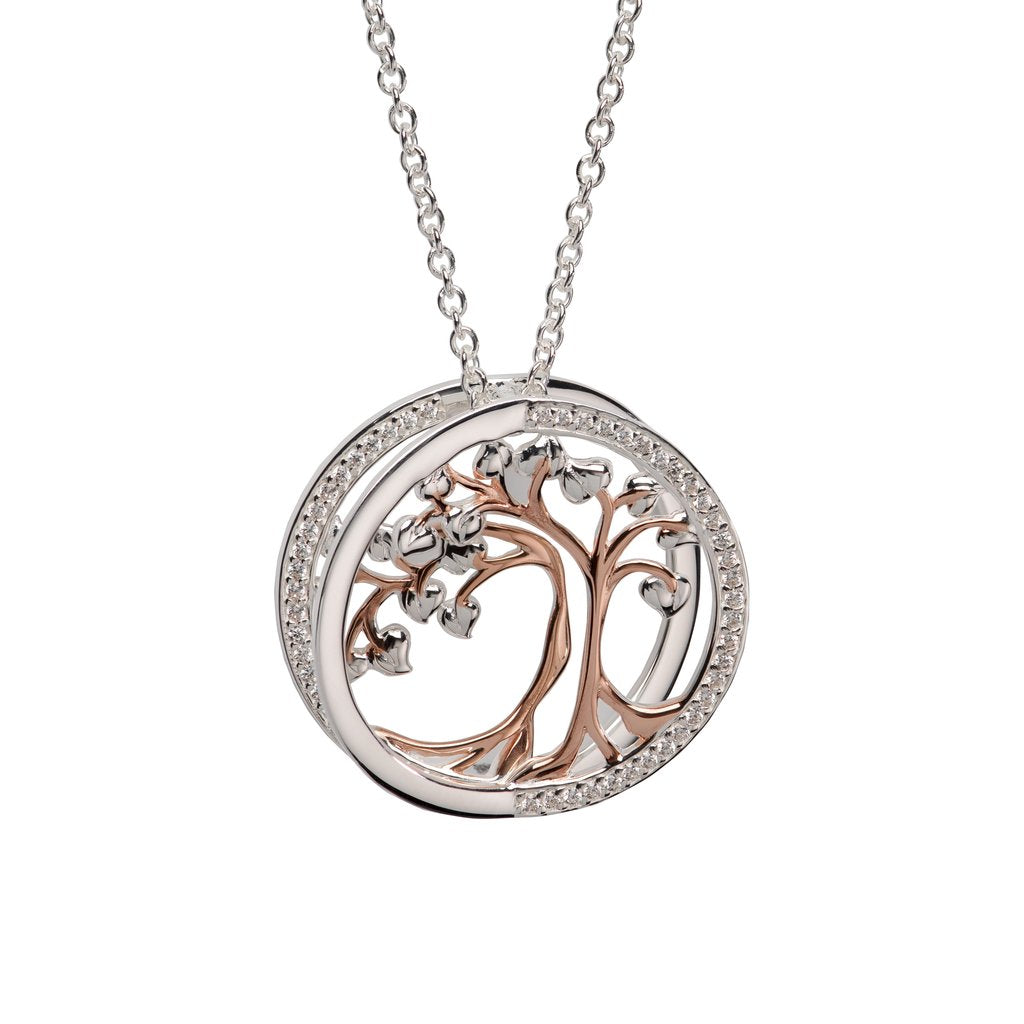 Unique and Co Sterling Silver and Rose Gold Tree of Life Necklace