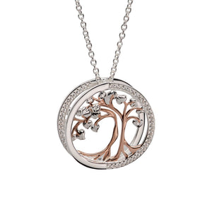 Unique and Co Silver and Rose Gold Heart Tree Necklace