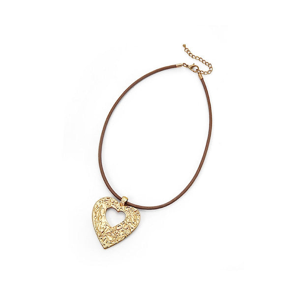 Matt Gold/Beige Large Textured Heart  Cord Necklace - Narborough Hall