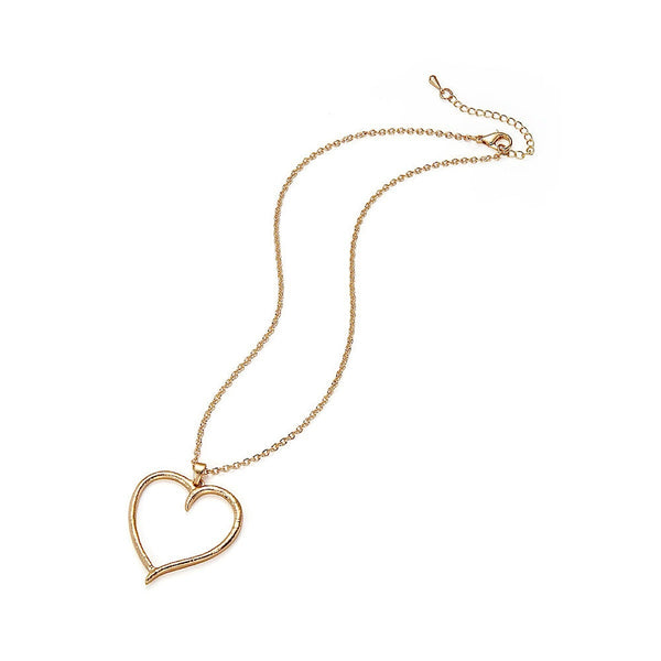 Matt Gold Open Textured Heart Pendant Necklace - Narborough Hall