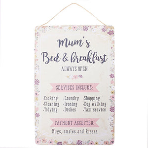 Mum's Bed and Breakfast Plaque | More Than Just at Gift | Narborough Hall