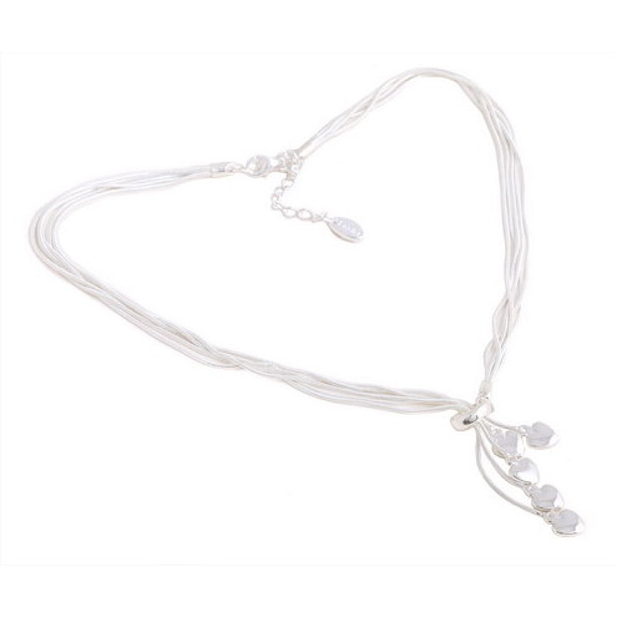 Heart Charms Silver Plated 5 Strands Necklace