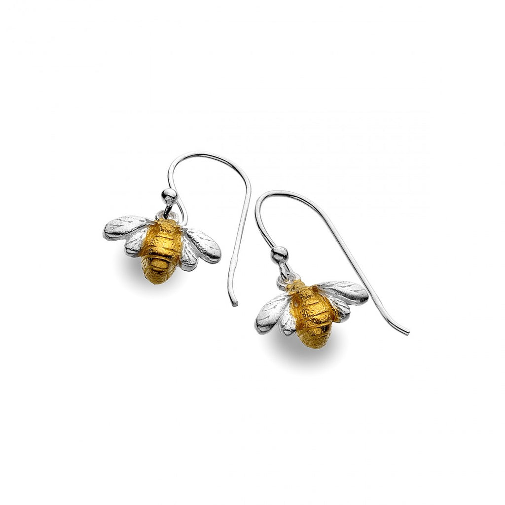 Silver Origins Golden Bumble Bee Drop Earrings - Sterling Silver
