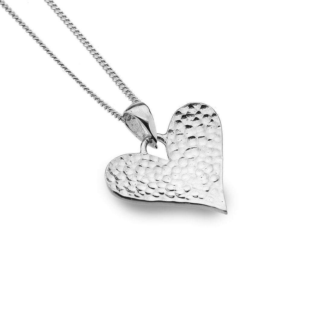 Silver Origins Hammered Love Heart Pendant