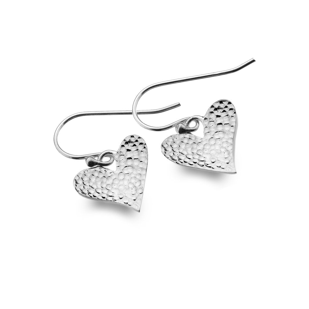 Silver Origins Hammered Love Heart Drop Earrings - Sterling Silver