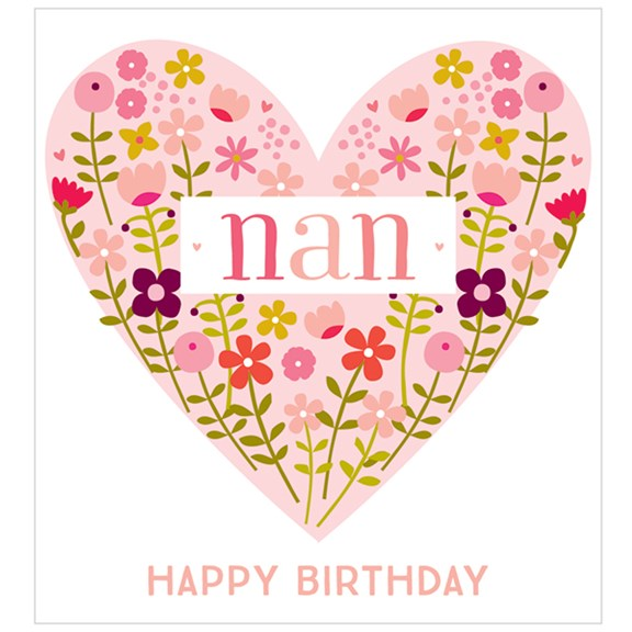 Peach Heart of Flowers Nan Birthday Card