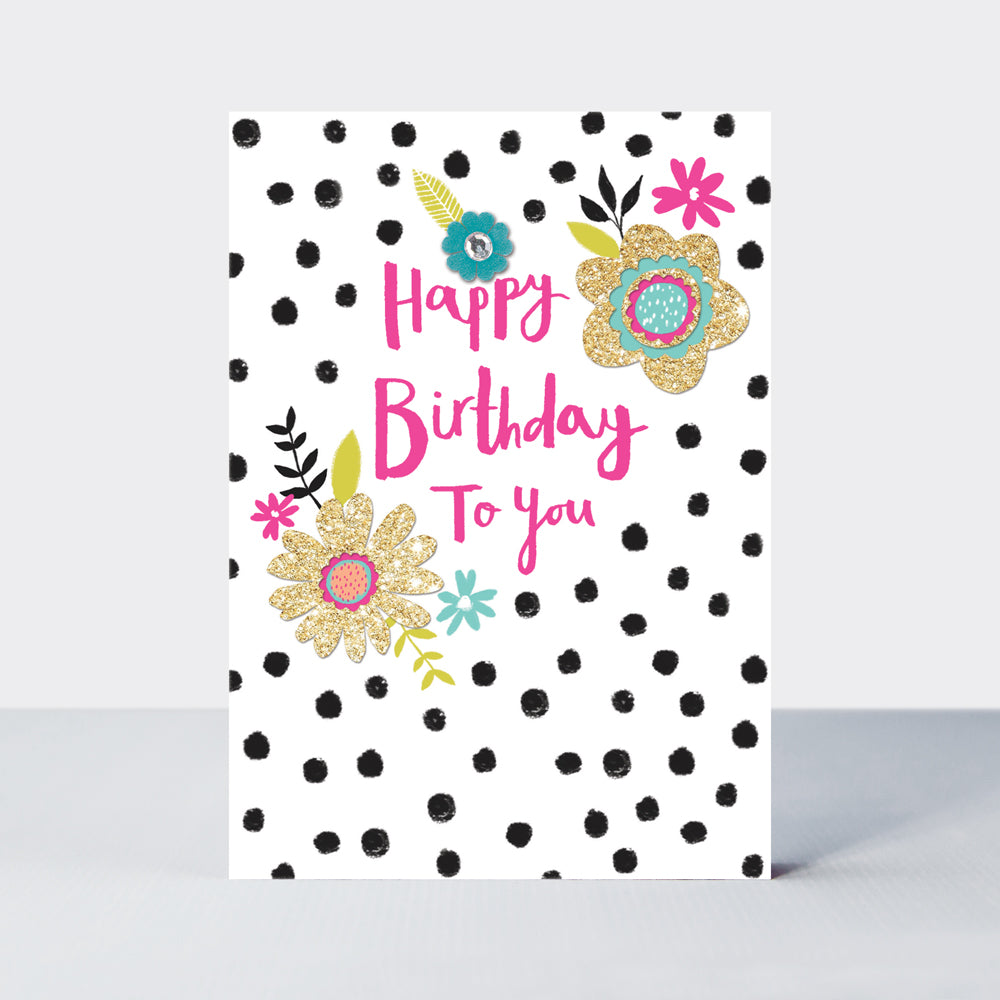 Hello Peachy Happy Birthday Dotty Card