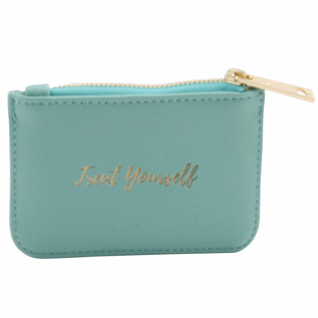 Willow and Rose 'Treat Yourself' Teal Coin Purse