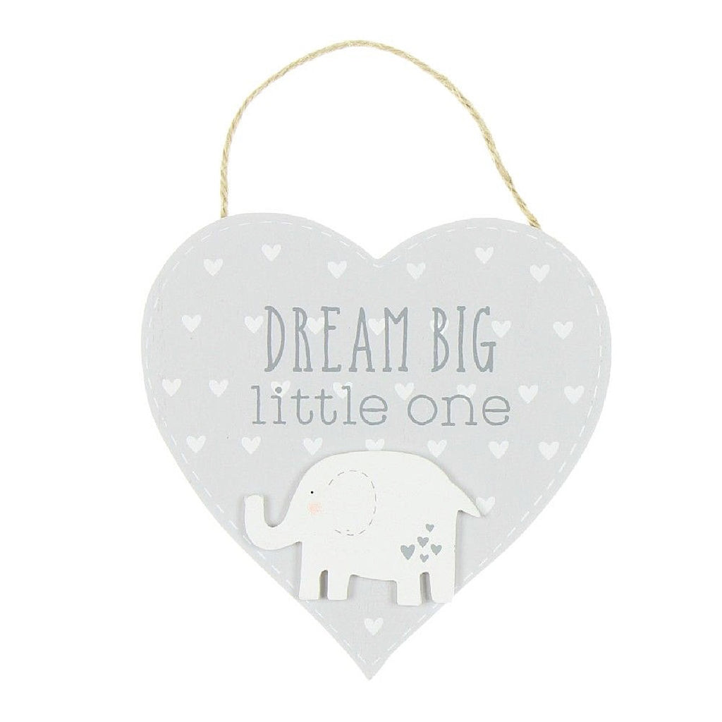 Petit Cheri Elephant Dream Big Little One Heart Plaque