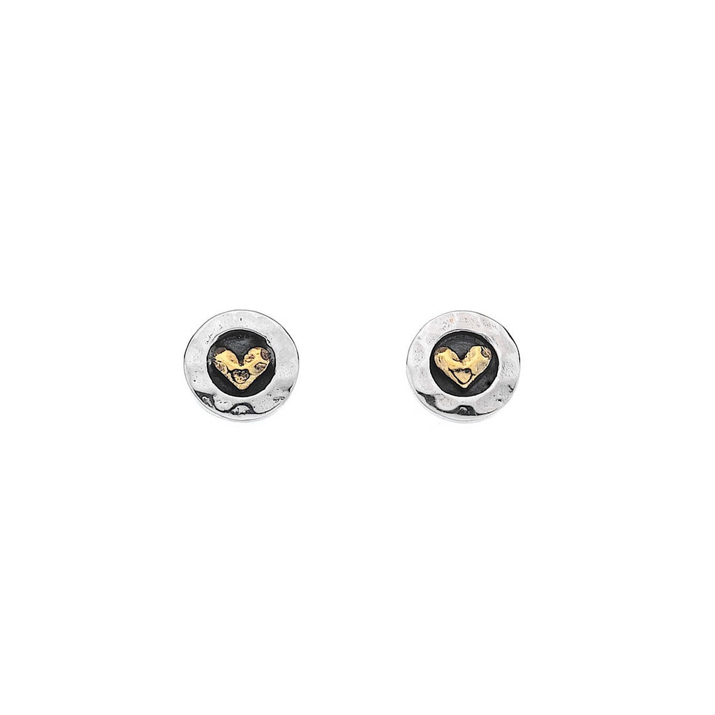 Pure Origins Silver Round Oxid & Brass Heart Stud Earrings | More Than Just at Gift | Narborough Hall