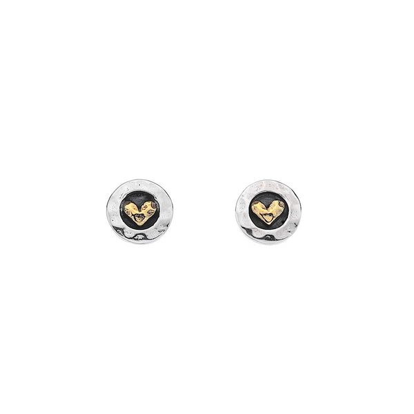 Pure Origins Silver Round Oxid & Brass Heart Stud Earrings