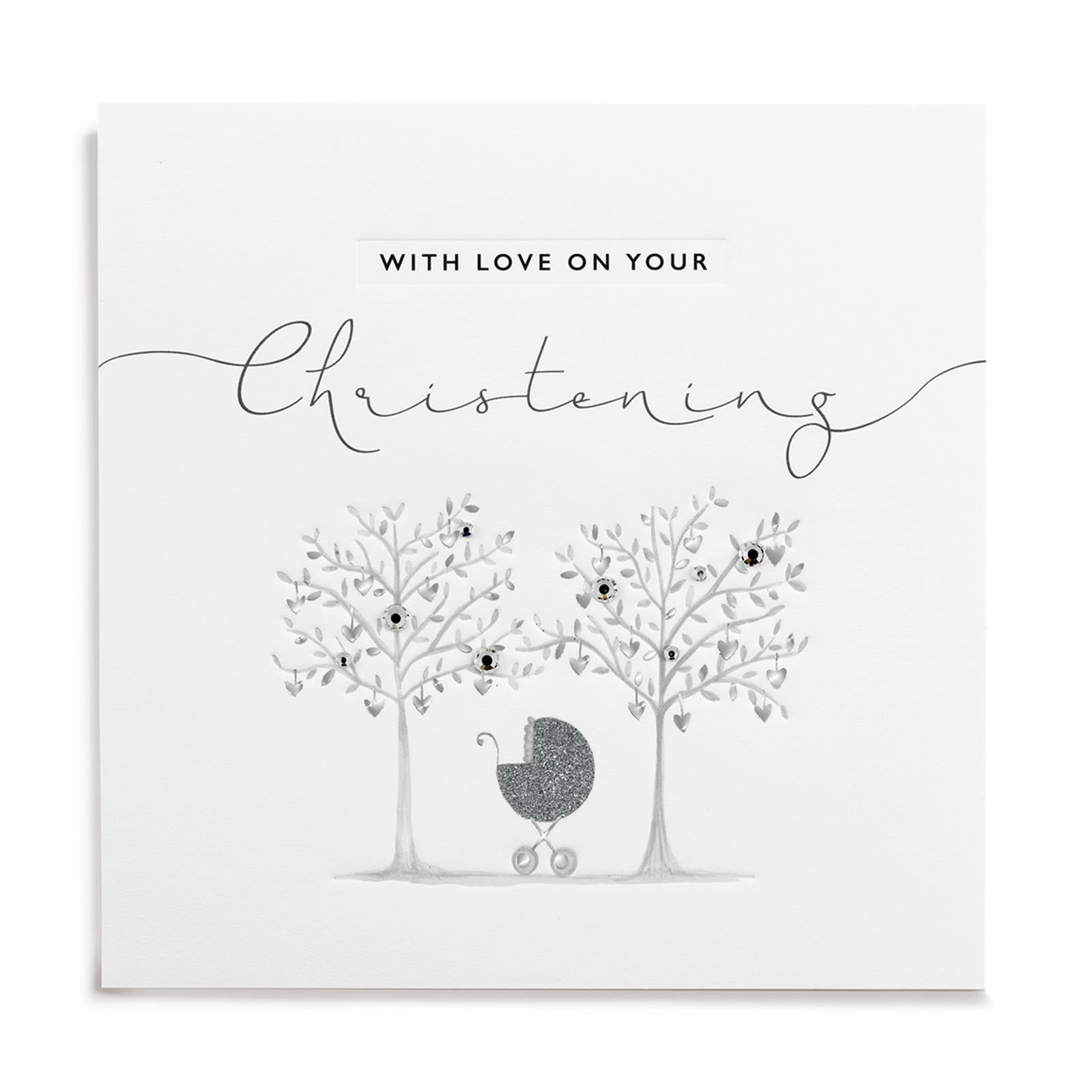 Janie Wilson Silver Leaf With Love Christening Card