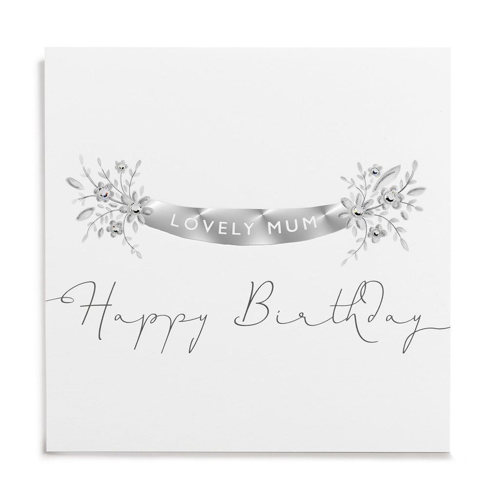 Janie Wilson Silver Leaf Lovely Mum Birthday Card