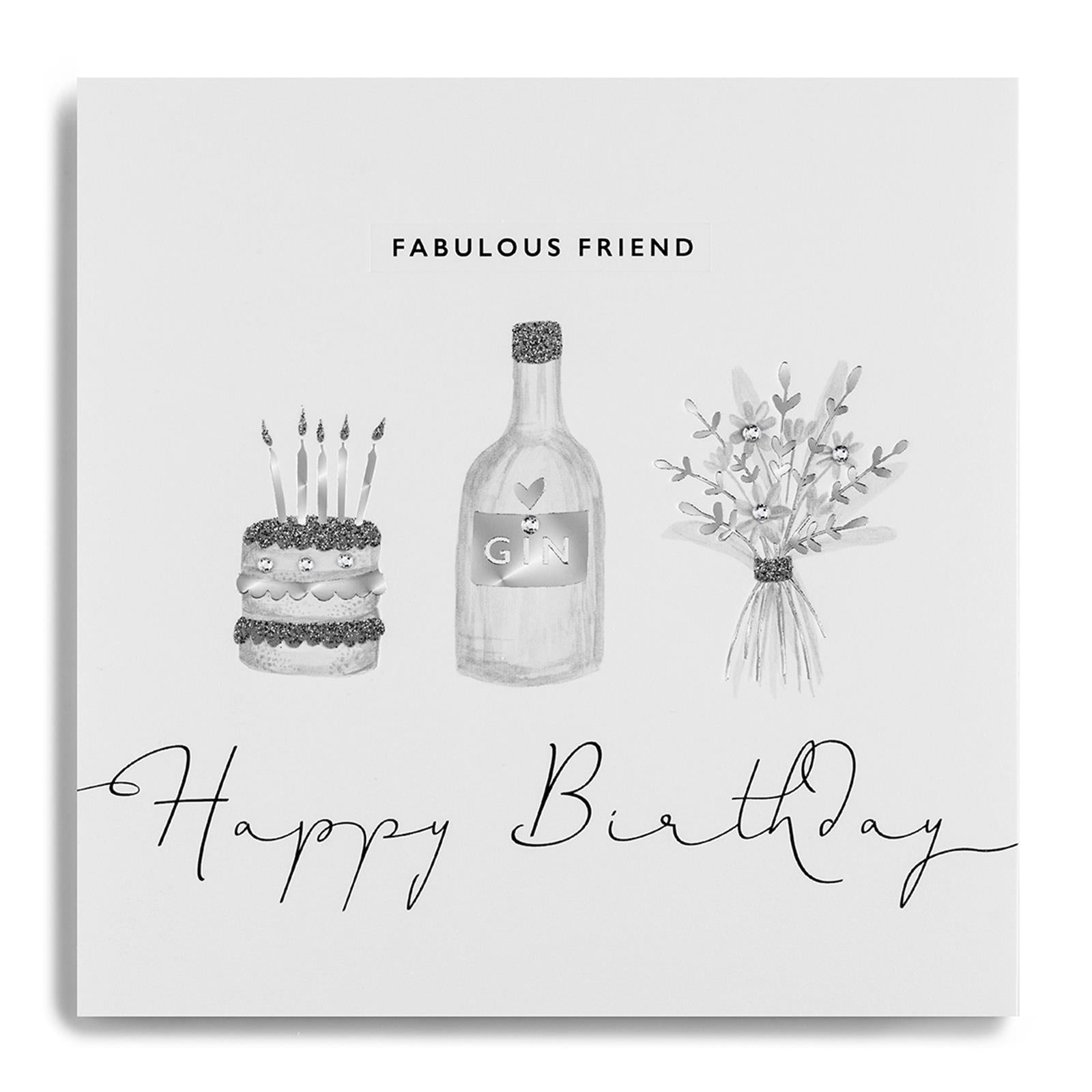 Janie Wilson Silver Leaf Fabulous Friend Birthday Card